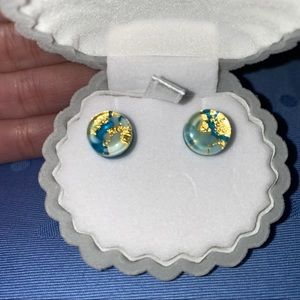 Jewelry - Earth Resin Earrings with Gold Tones & Blue Ocean